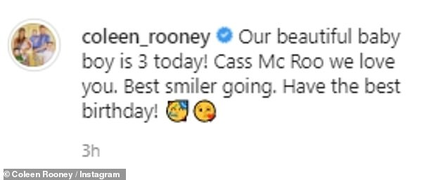 Mother's love: Captioning her post, she penned: 'Our beautiful baby boy is 3 today! Cass Mc Roo we love you. Best smiler going. Have the best birthday!'