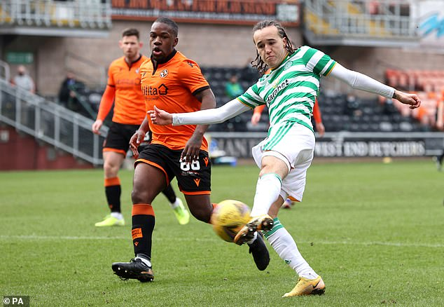 Diego Laxalt (right) has a shot for Celtic, who created several decent chances in the first half