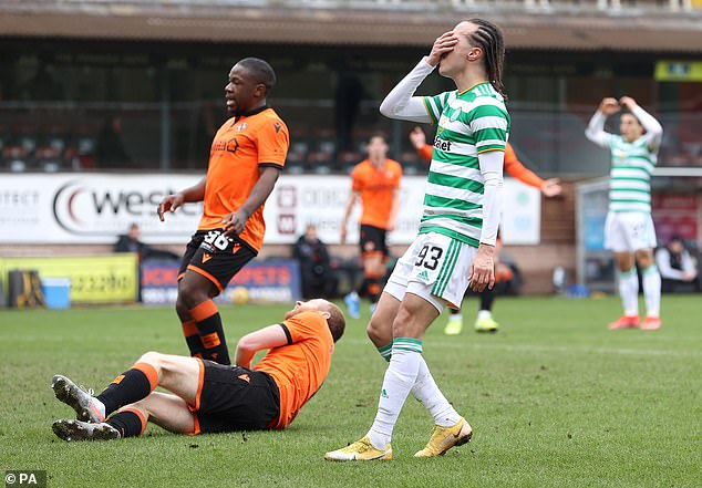 Celtic's best chance of the first half fell to Laxalt but the wing-back didn't make the most of it