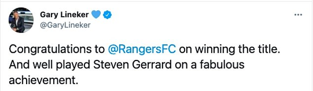 Gary Lineker offered his congratulations to Rangers and manager Steven Gerrard on the title