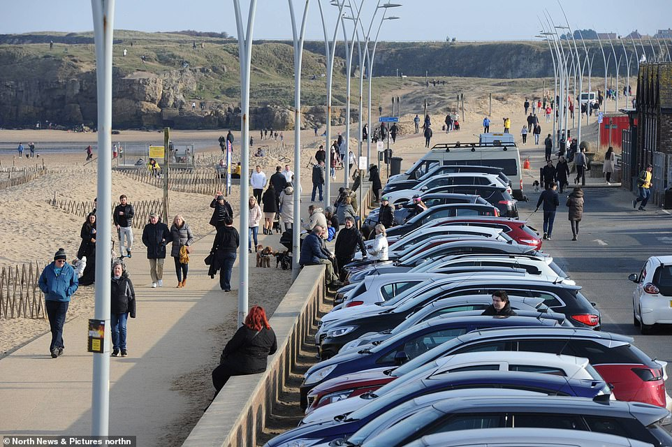 Busy scenes with car parks full to capacity at South Shields seafront this afternoon where people have travelled to the seaside to enjoy the sunshine