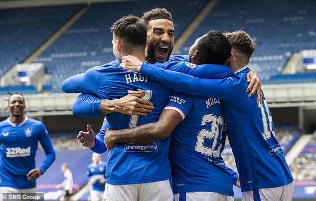 Rangers had won 3-0 yesterday, setting up their title win if Celtic failed to get three points away from home