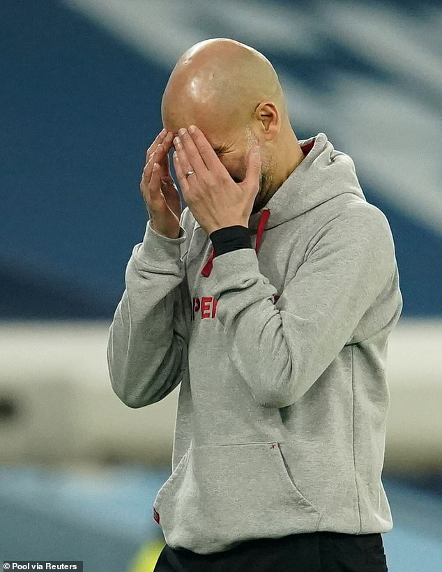 The derby defeat came at a bad time for Pep Guardiola (above) and Manchester City