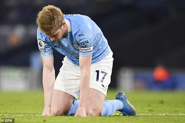 Manchester City midfielder Kevin de Bruyne struggled to impose himself on the game