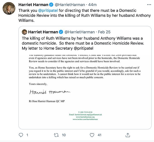 Labour MP Harriet Harman said that she had written to Ms Patel calling for a review and she is 'glad she has agreed' to it