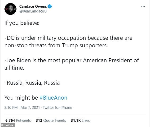 Candace Owens, 31, sent out a series of Tweets on Sunday mocking liberals as 'BlueAnon' and criticizing 'Moaning Markle' ahead of her interview with Oprah