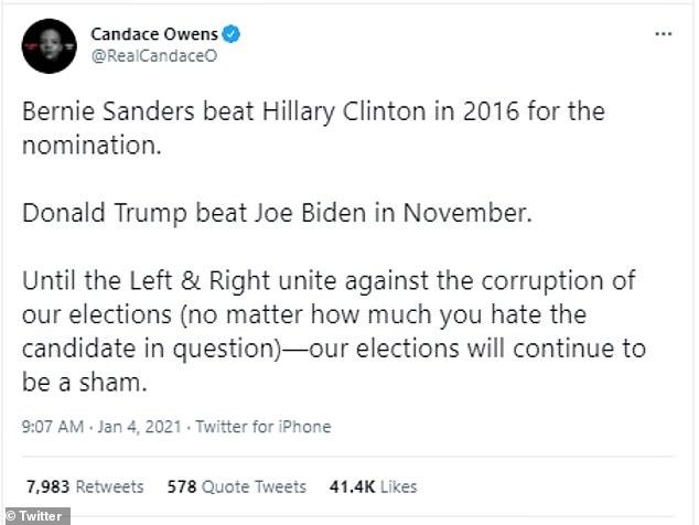 Owens, a conservative commentator, has previously spread her own inaccurate claims such as that the election was a 'sham' and Donald Trump beat Biden in the election