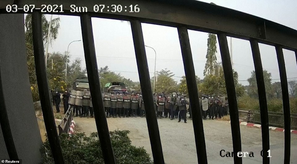 CCTV footage shows Myanmar police storming Mandalay university. The exhumation of Kyal Sin has brought fresh outrage from opponents of the coup, who accuse the junta of trying to conceal the fact she was killed by their forces