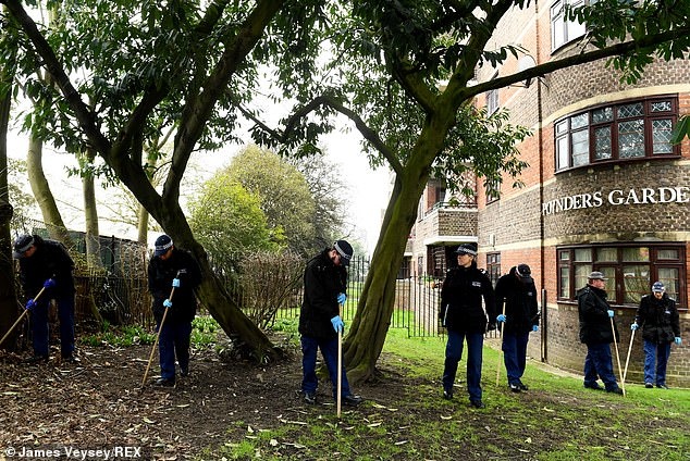 Police search Poynders Gardens Estate in Clapham, London, on Monday morning