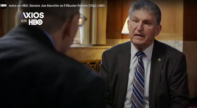 Senator Joe Manchin told Axios that he won't support Democrats ruling by a simple majority in the Senate.'I would say this to my friends. You've got power. Don't abuse it,' he told Axios