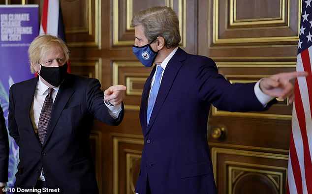 Mr Johnson (pictured today with US climate change envoy John Kerry) is under pressure to up the offer made to an independent pay review, after ministers said it was the only 'affordable' increase