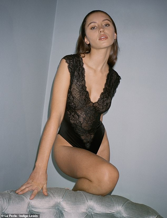 Wow! Iris Lawturned up the heat as she flaunted her figure in a plunging lace bodysuit during asexy shoot for La Perla's 80s archive collection, which was released on Monday