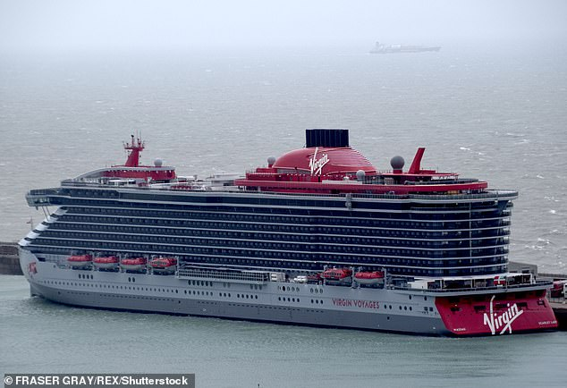 Virgin Voyages first ship, the adults-only 2,770-passenger Scarlet Lady, was launched in Dover last year (above)