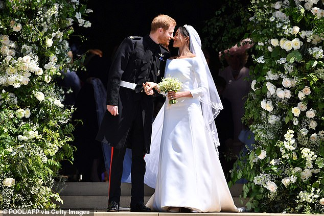 """Feud: 'I thought [Meghan] threw Kate under the bus in that interview. I thought that was really unnecessary,' Jackie said. 'She even said, """"I don't dislike Kate, she apologised,"""" so really.' The Duke and Duchess of Sussex are pictured on their wedding dayin May 2018"""