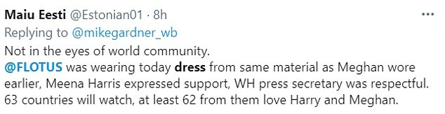 People have taken to Twitter gushing about Jill Biden's choice of dress, arguing it isn't a coincidence that she wore Oscar de la Renta