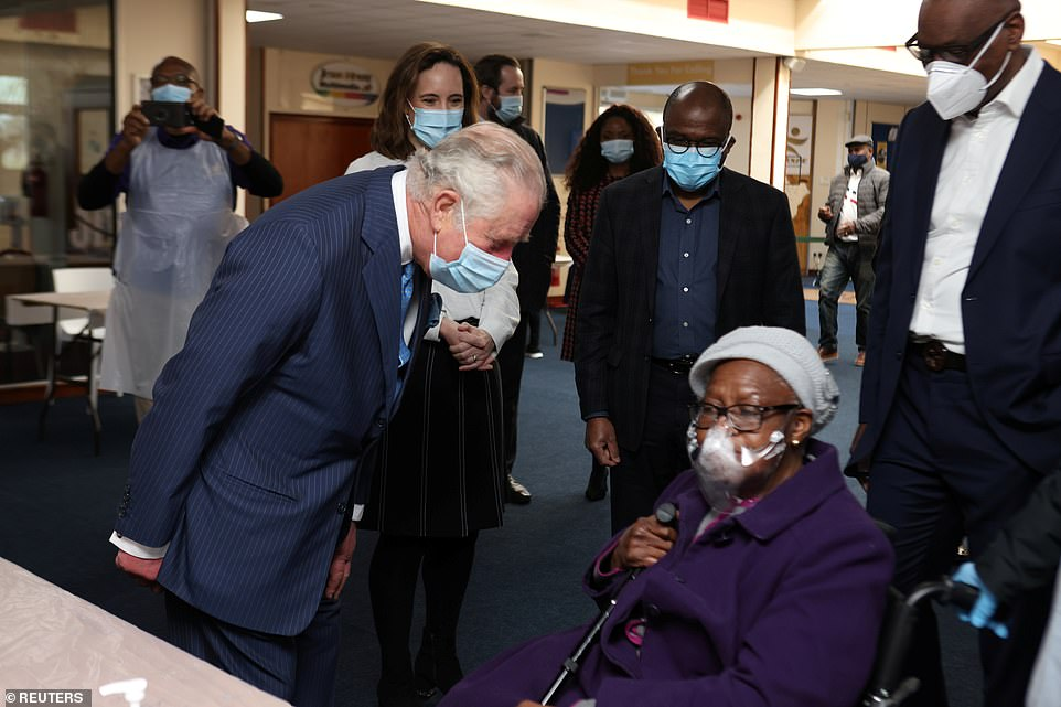 Prince Charles wore a face mask as he toured Jesus House in Brent Cross, meeting NHS and church staff working on the vaccination pop-up clinic as well as community members due to receive their jab
