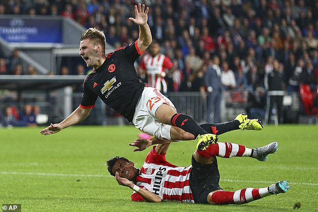 Shaw suffered a double fracture to his right leg after this horror tackle from Hector Moreno
