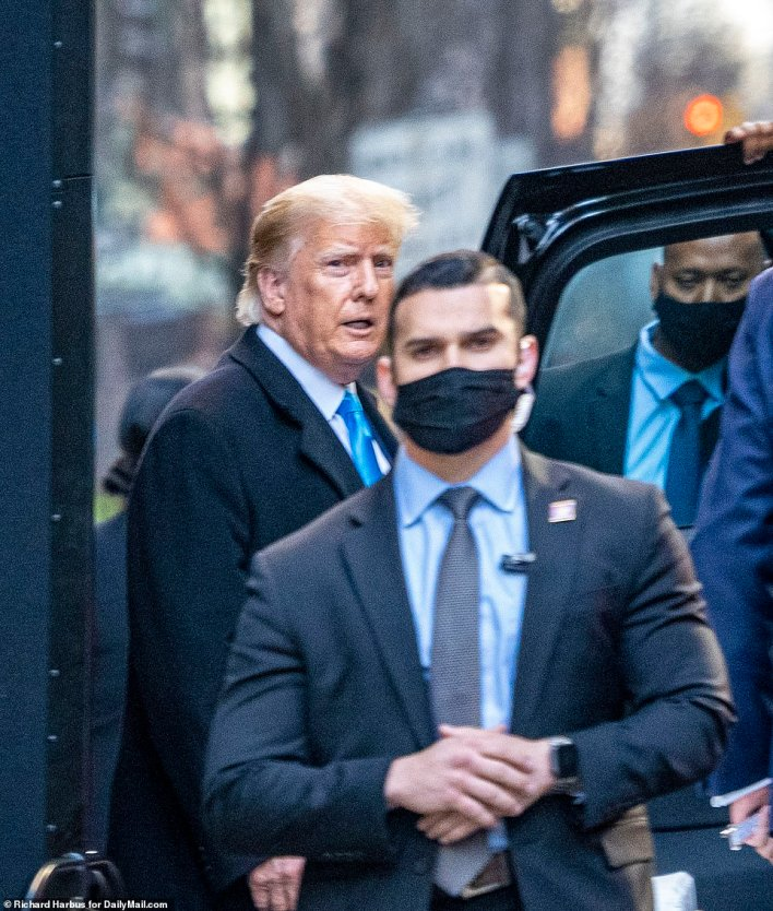 NYPD vehicles and secret service had surrounded the building earlier in the day before Trump made a quick escape to head back to his full-time residence in Florida, pictured above. He had been back in NYC for less than two days
