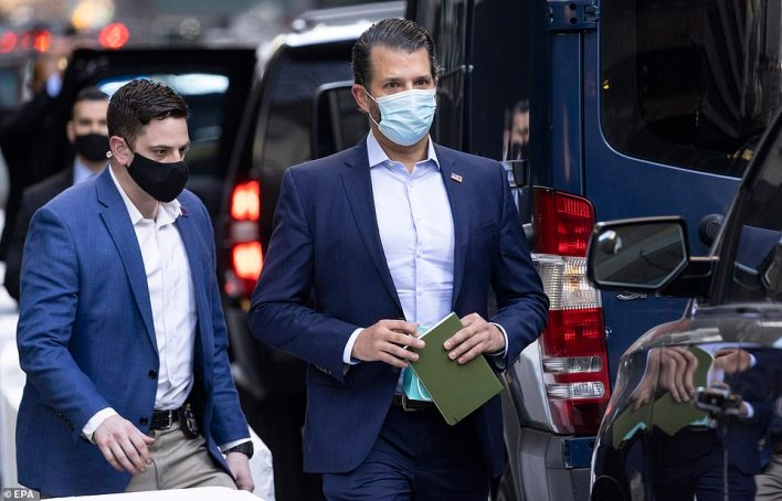Donald Trump Jr. also walked to his father's motorcade as they left Trump Tower on Tuesday afternoon