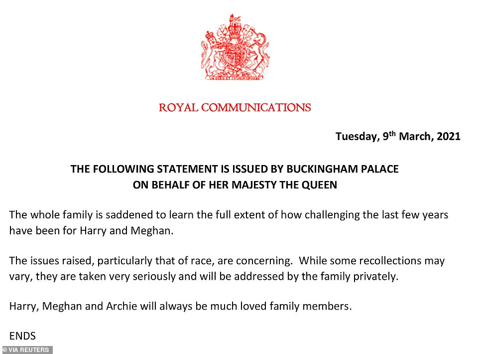 An official statement was released on behalf of The Queen on Tuesday evening, following the bombshell interview, which aired in the UK on Monday night