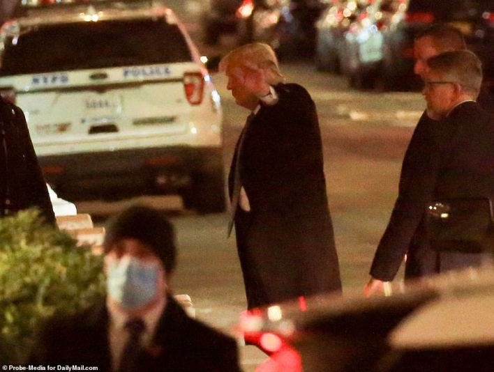 Trump was pictured returning to his former full-time residence in Manhattan on Sunday night