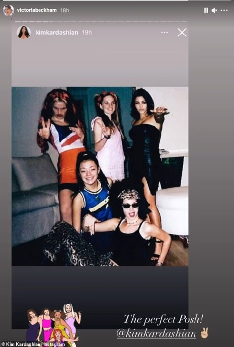 Wannabe: Victoria Beckham labelled Kim Kardashian 'the perfect Posh' on Instagram on Tuesday, after the reality star shared a throwback snap dressed as the Spice Gir