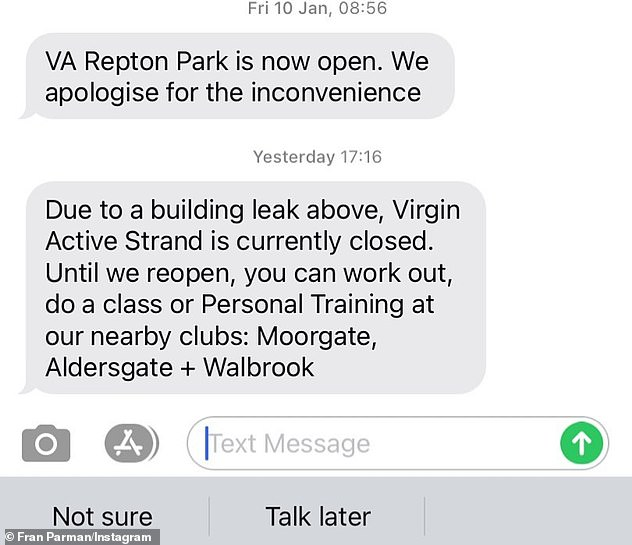 Closed!u00A0Explaining the struggle she faces, Fran shared a text from her gym alerting her that it was currently closed until further notice