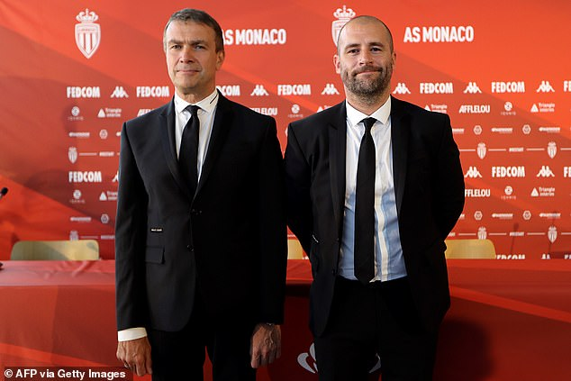 Monaco sporting director Paul Mitchell (R) had been linked having previously worked at Spurs