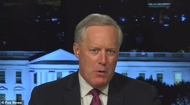 Former White House Chief of Staff Mark Meadows (pictured on Tuesday night) claimed on Fox News' Sean Hannity is because Biden's 'decline' is noticeable