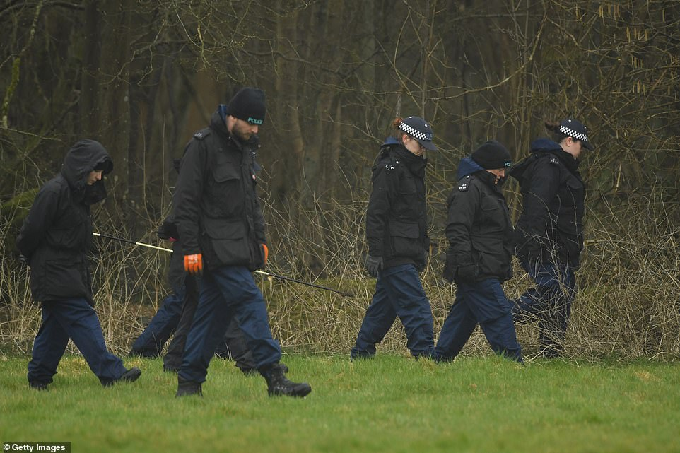 Police search a disused paintball centre on Bears Lane, near Great Chart Golf and Leisure as they look for missing Sarah