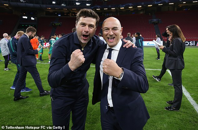 Mauricio Pochettino (left) and Levy (right) still text each other and have a 'good relationship'