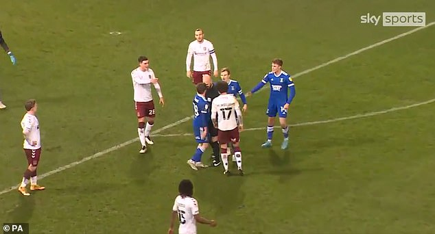 Referee Darren Drysdale angrily squared up with Ipswich midfielder Alan Judge last month