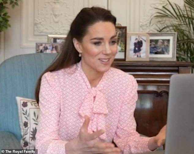 Kate, 39, sported a blush pussybow blouse (pictured) during an appearance hours after her sister-in-law claimed the two women had a tearful confrontation days before the Duke and Duchess of Sussex's 2018 wedding