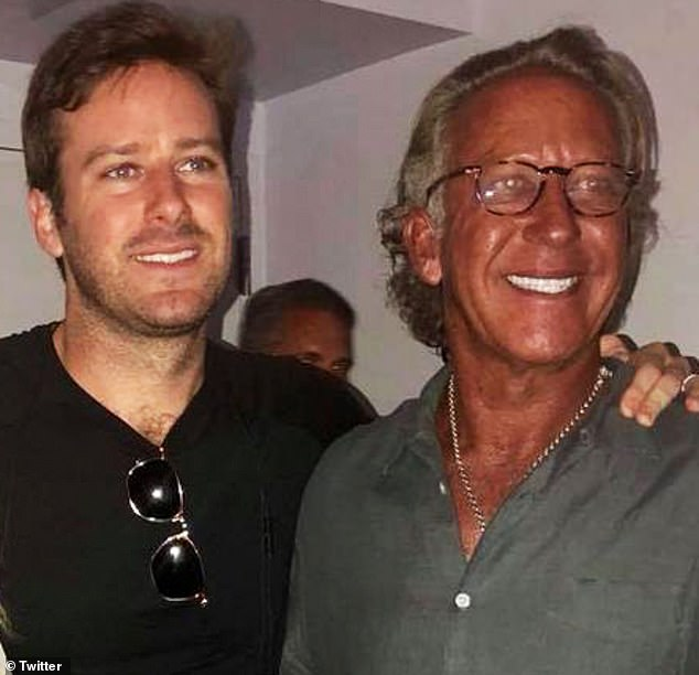 Like father, like son? It comes a month after Vanity Fair published an exposé going back five generations,which revealedArmie's (L) father Michael (R) allegedly owned a BDSM 'sex throne' and his involvement in a $70M fraudulent ring selling counterfeit paintings