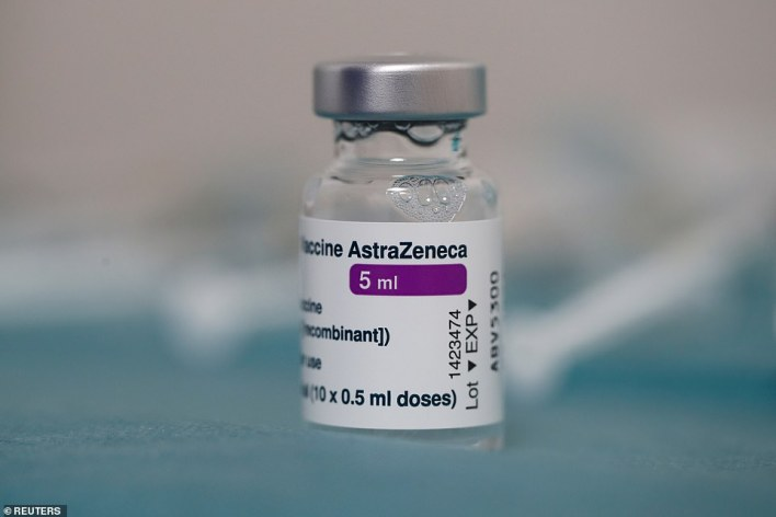 Meanwhile, the Times says the UK's roll-out is set to be boosted by the arrival of jabs from Moderna, Janssen and Novavax (pictured: A dose of the AstraZeneca vaccine)
