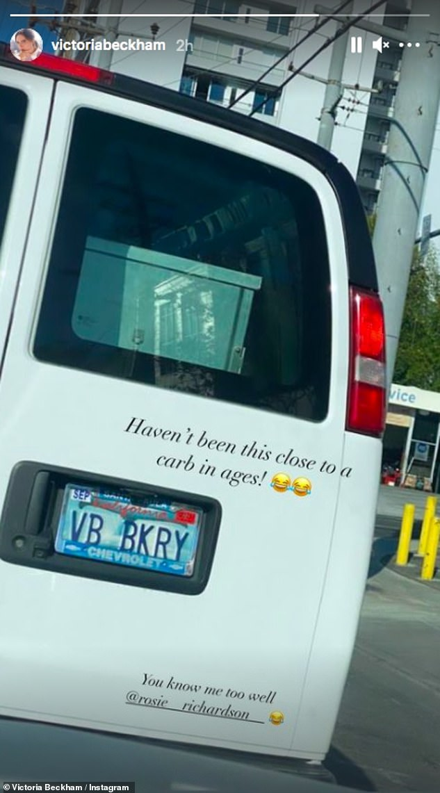 Funny:Victoria famously omits carbohydrates from her diet and just last month shared a hilarious picture of a van number plate which read 'VB BKRY' as she joked she 'hadn't been this close to a carb in ages'