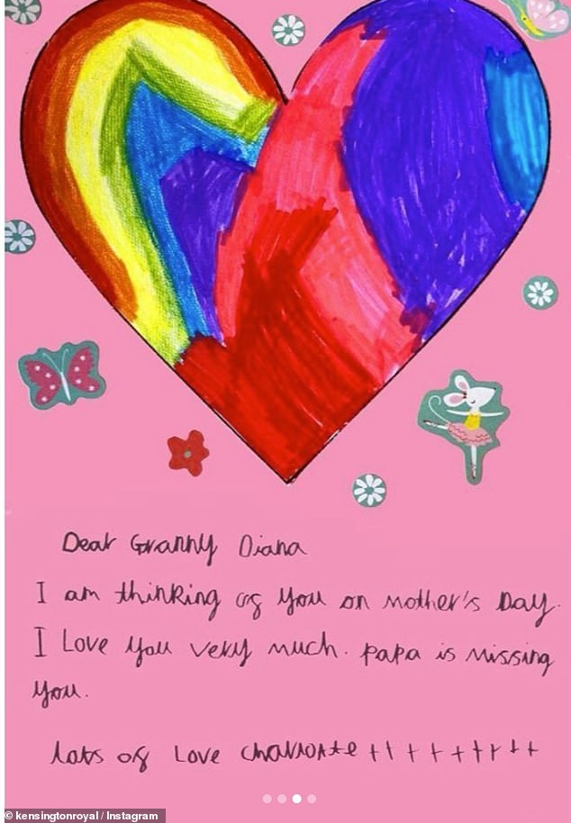 Prince George, Princess Charlotte and Prince Louis made home-made cards addressed to their 'Granny Diana' to mark Mother's Day. Pictured, Princess Charlotte's card