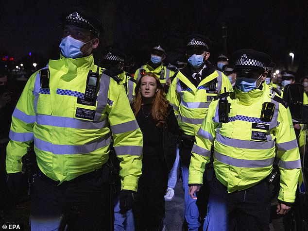 Speaking today, Ms Stevenson (pictured during her arrest) said she attended the gathering in Clapham Common in support of women who cannot walk down the street by themselves 'because of the fear of men'