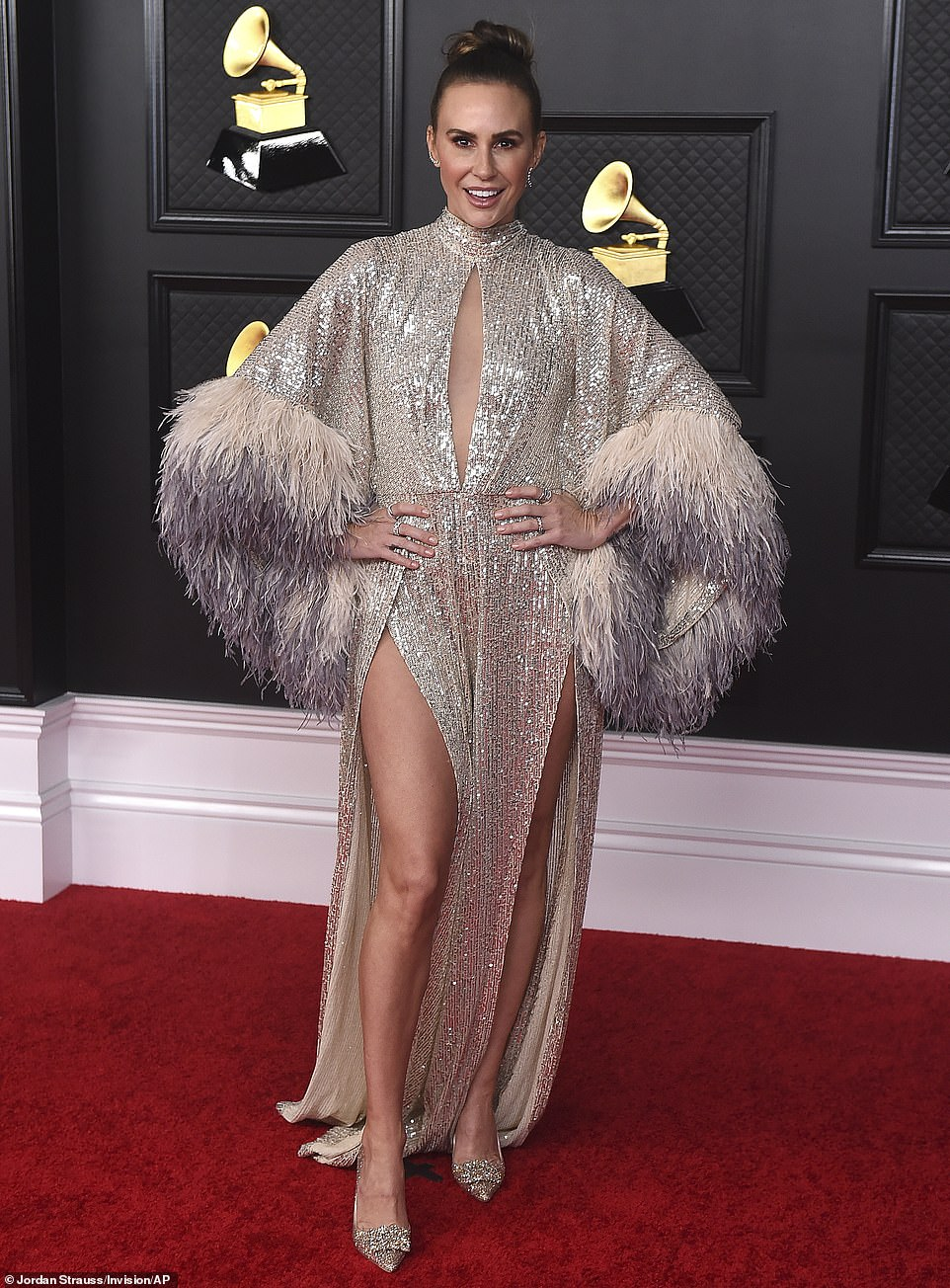 Is it a bird, is it a plane? Keltie Knight's shimmering frock would have been stunning had it not been for the over-the-top feather embellishments on the sleeves, which left her looking a little bit like Big Bird