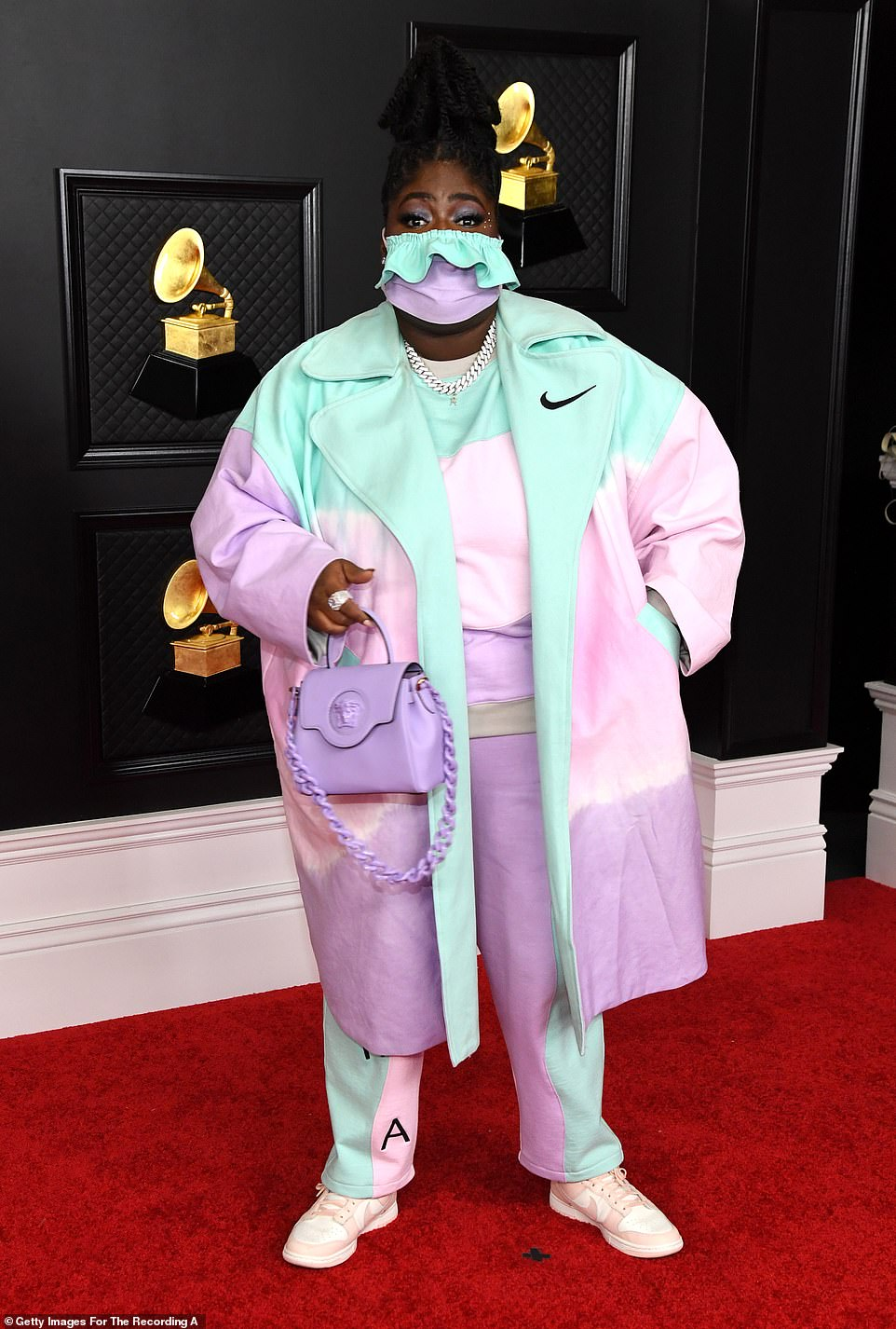 Keeping it colorful: Rapper Chika wore a pastel Nike ensemble with matching handbag