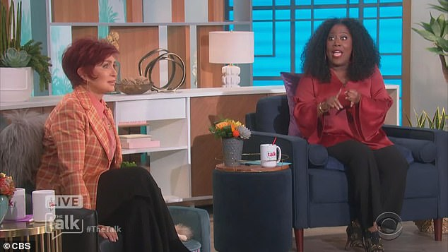 Sharon Osbourne has claimed CBS 'blindsided' her when she was asked live on The Talk about her support for Piers Morgan, as the network announced it has launched a probe into her bust up with co-host Sheryl Underwood. Pictured the incident on Wednesday's show