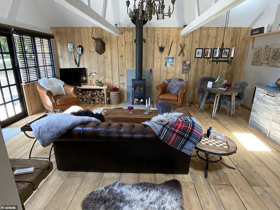 This lodge for two, it's claimed, will give you a sense of an Alpine stay. It's set in the grounds of a 17th-century farmhouse and affords guests 'far-reaching views to the South Downs and coast'. It costs £105 a night