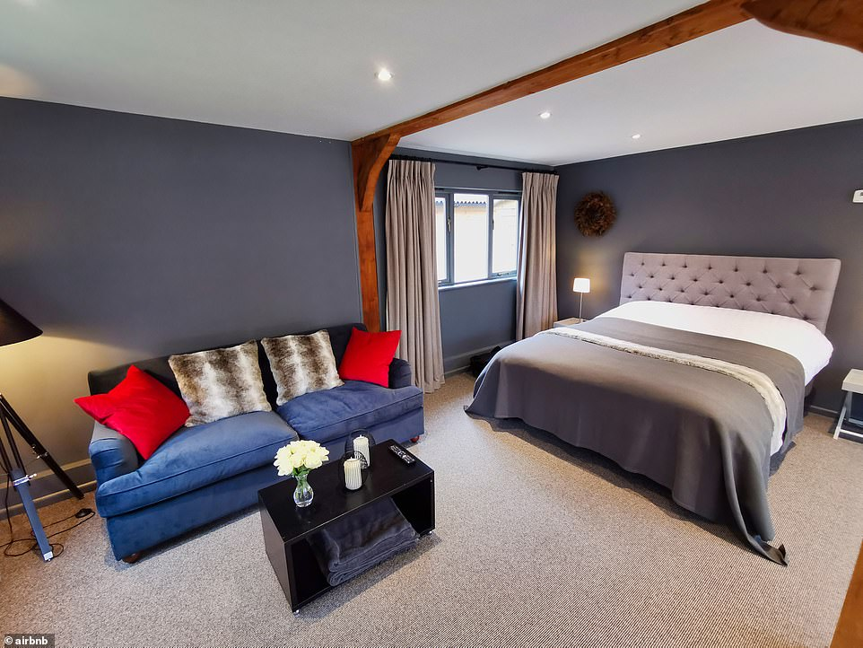This barn for two is set in the heart of the beautiful South Downs National Park and accommodates two in 60 square metres (645 sq ft) of space. Reviewer Jay said his stay was 'superb'. It costs £89 a night