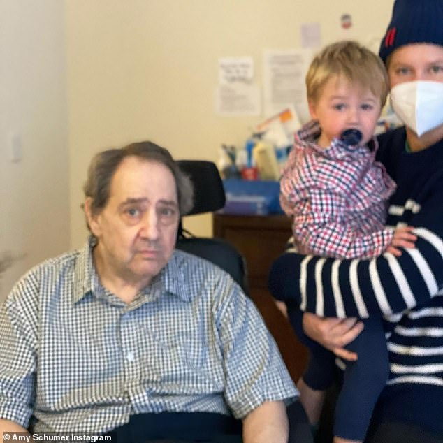 Reunited: Earlier this month, she brought her two-year-old son Gene to visit with her father Gordon after almost one year of no contact due to the coronavirus and his pre-existing conditions with a Multiple sclerosis diagnosis