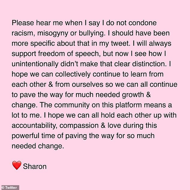 After she faced a backlash and accusations of racism following Wednesday's show, Osbourne issued a statement (above) Friday apologizing 'to anyone of colour that I offended and/or to anyone that feels confused or let down'