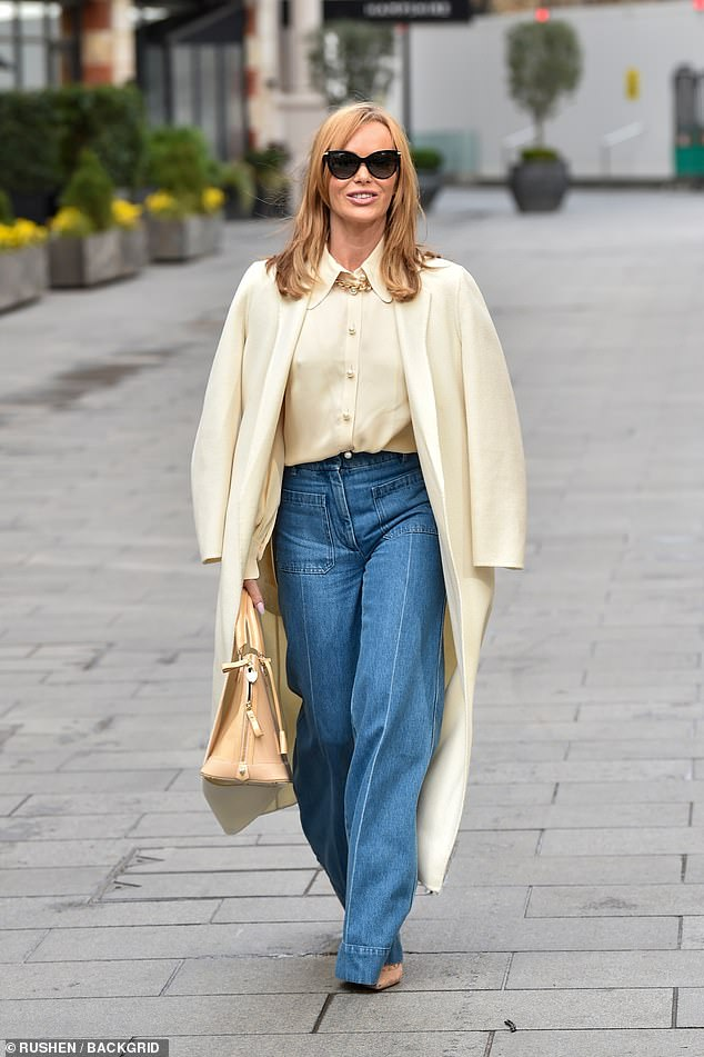 Looking good: Amanda Holden looked radiant as ever as she departed Global Studios after hosting her Heart Breakfast show on Tuesday