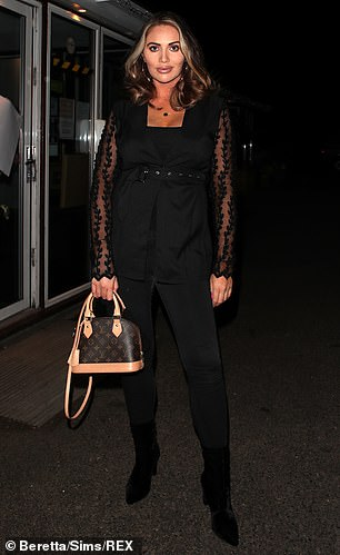 Dressed up: She was joined by a glamorous Amy Childs who opted for a chic all-black ensemble