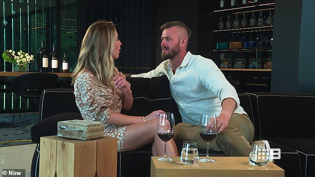 Shocking: During the episode, the pair were out at a restaurant when they sat down for a chat and answered questions from the honesty box.'You're asking me a question...' Chris trailed off, before Jaimie had a go at the way he spoke