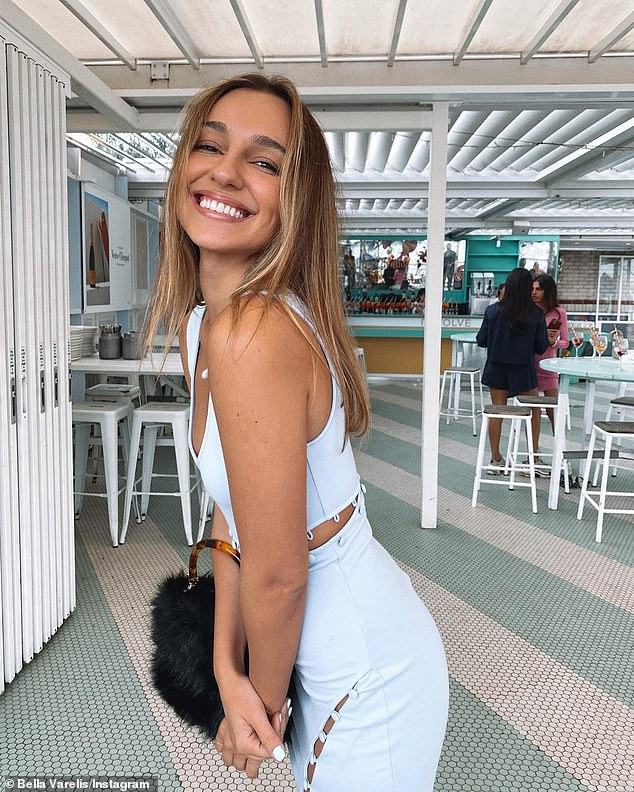 It must be love! Bachelor star Bella Varelis [pictured] giggled with glee as she filmed photographer boyfriend Will Stokoe farting after a fragrant chicken dinner on Wednesday
