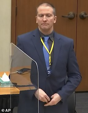 Derek Chauvin (pictured in a Minneapolis courtroom on March 15) has been charged with second- and third-degree murder and second-degree manslaughter in the May 2020 death of George Floyd